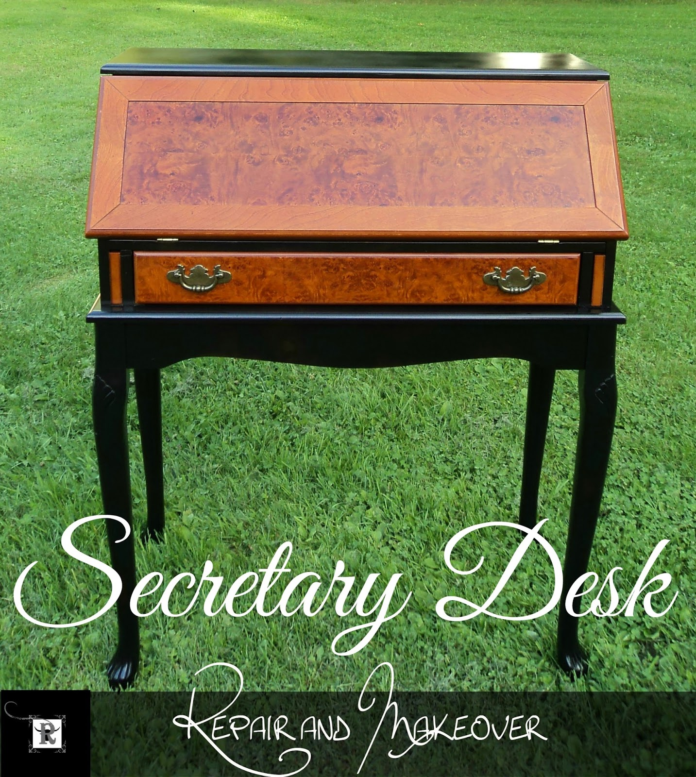 This DIY Secretary Desk makeover is quite stunning! Tutorial by Redo It Yourself Inspirations