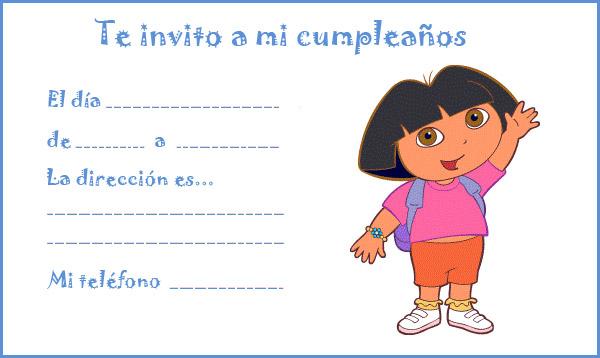 Invitación de cumpleaños Dora