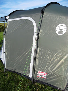 Side view of the tent with dodgy pole