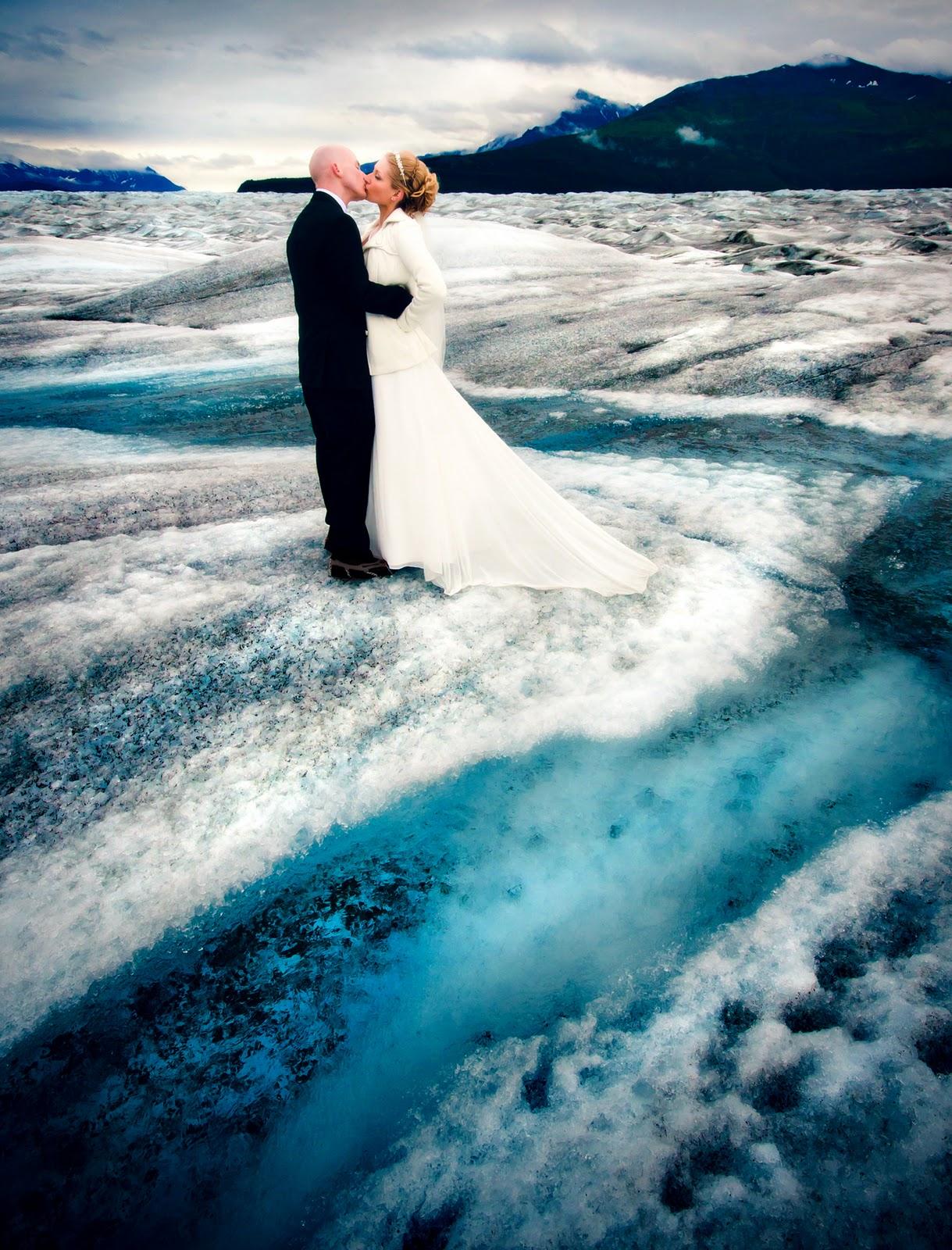 robot banjo alaskan glacier wedding