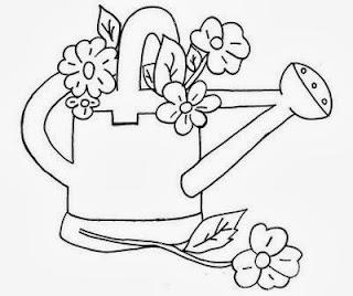 desenho de regador com flores para pintar