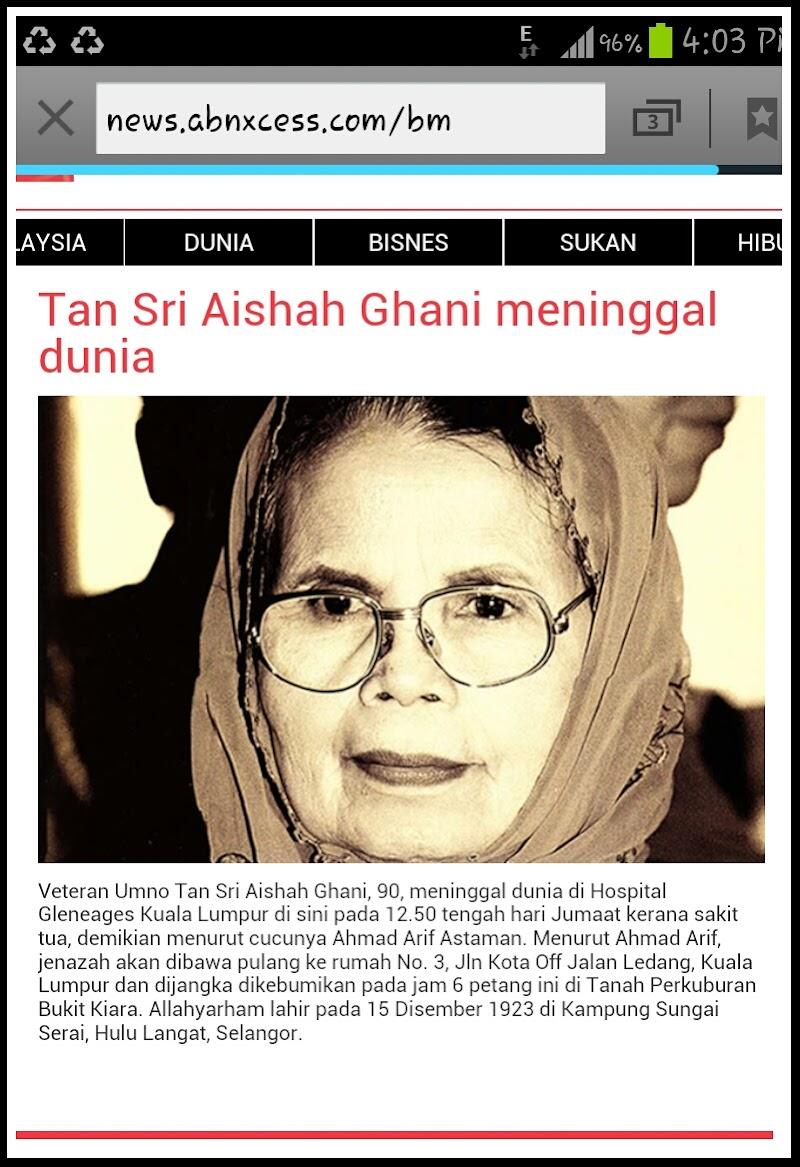 Isu Terkini | Tan Sri Aisyah Ghani Meninggal Dunia