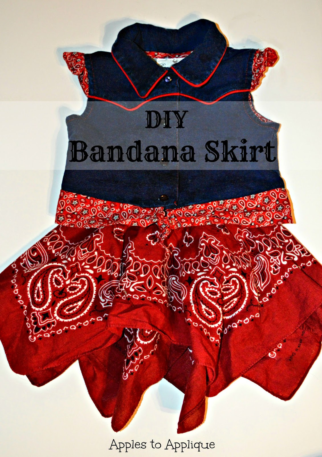 Quick and Easy DIY Bandana Skirt | Apples to Applique #sewing #tutorial #western