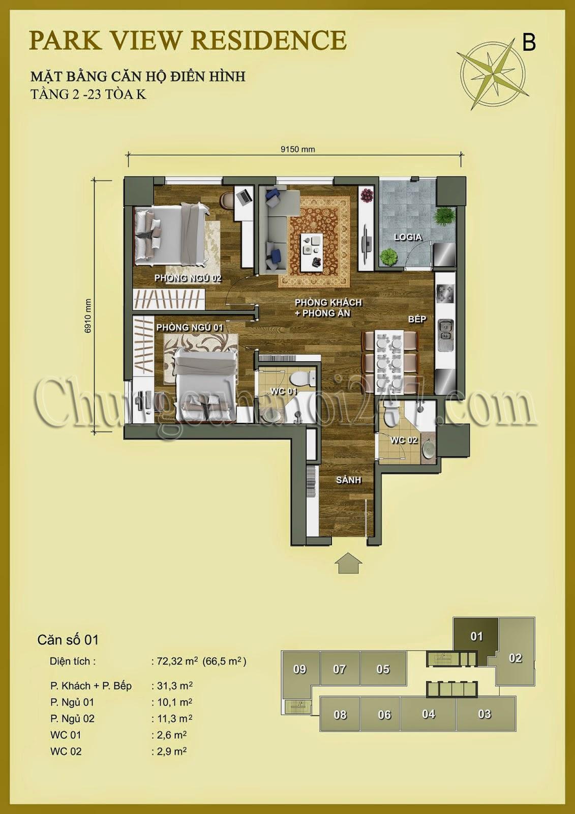 Mặt bằng thiết kế chung cư Park View Residence Dương Nội