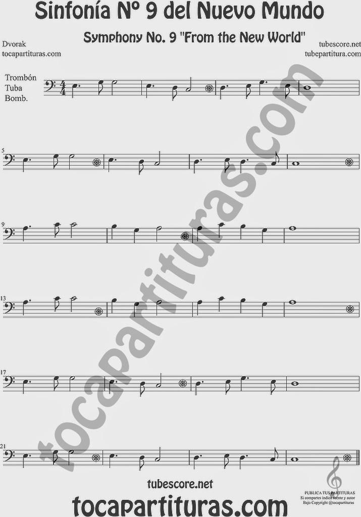 Sinfonía del Nuevo Mundo Partitura de Trombón, Tuba Elicón y Bombardino Sheet Music for Trombone, Tube, Euphonium Music Scores