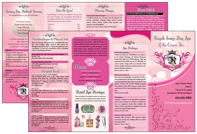 See examples of repetition in the spa brochure design the following: