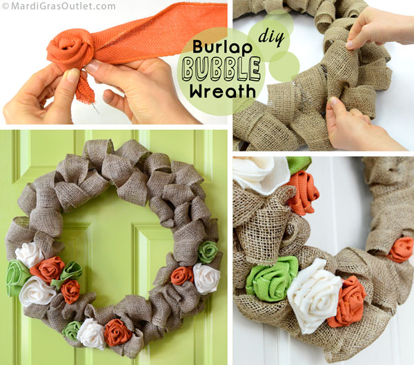 DIY Burlap Ribbon Wreath: Tutorial  | MardiGrasOutlet.com
