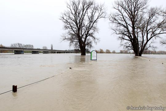 Ngaruroro River broke its banks by the Chesterhope Bridge, Pakowhai, near Hastings photograph