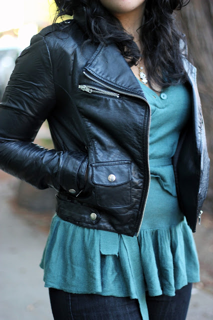 H&M Leather Jacket and Teal Sweater