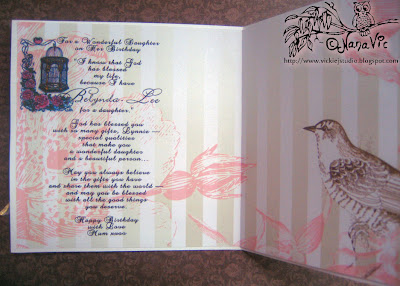 Digital Stamp Bird Cage Roses inside card