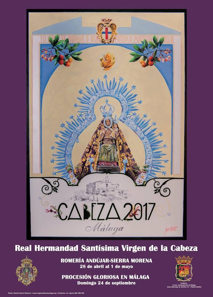 """CARTEL DE ROMERÍA Y PROCESIÓN """"CABEZA 2017"""" HDAD. DE MÁLAGA."""