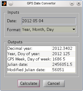 Snapshot of the GPS Date Convertor (GDC)