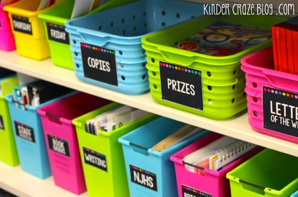 gorgeous labels and tips on organizing the classroom