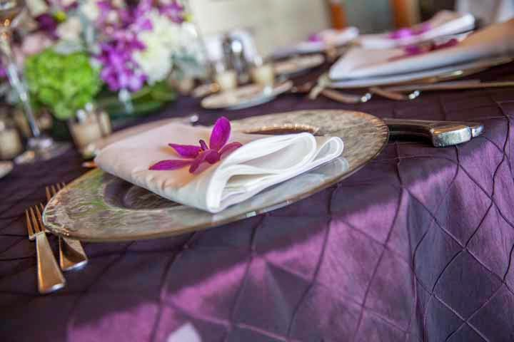 wedding reception table, purple flowers