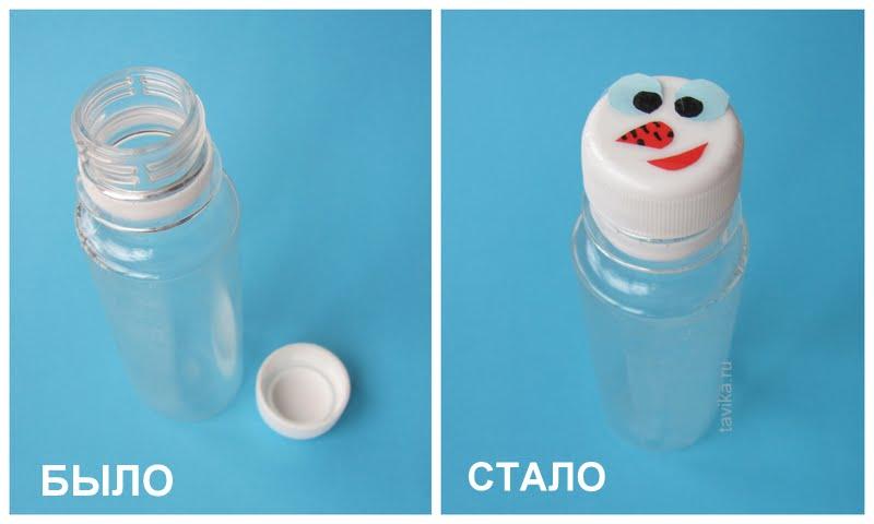 снеговик из крышки - детская поделка