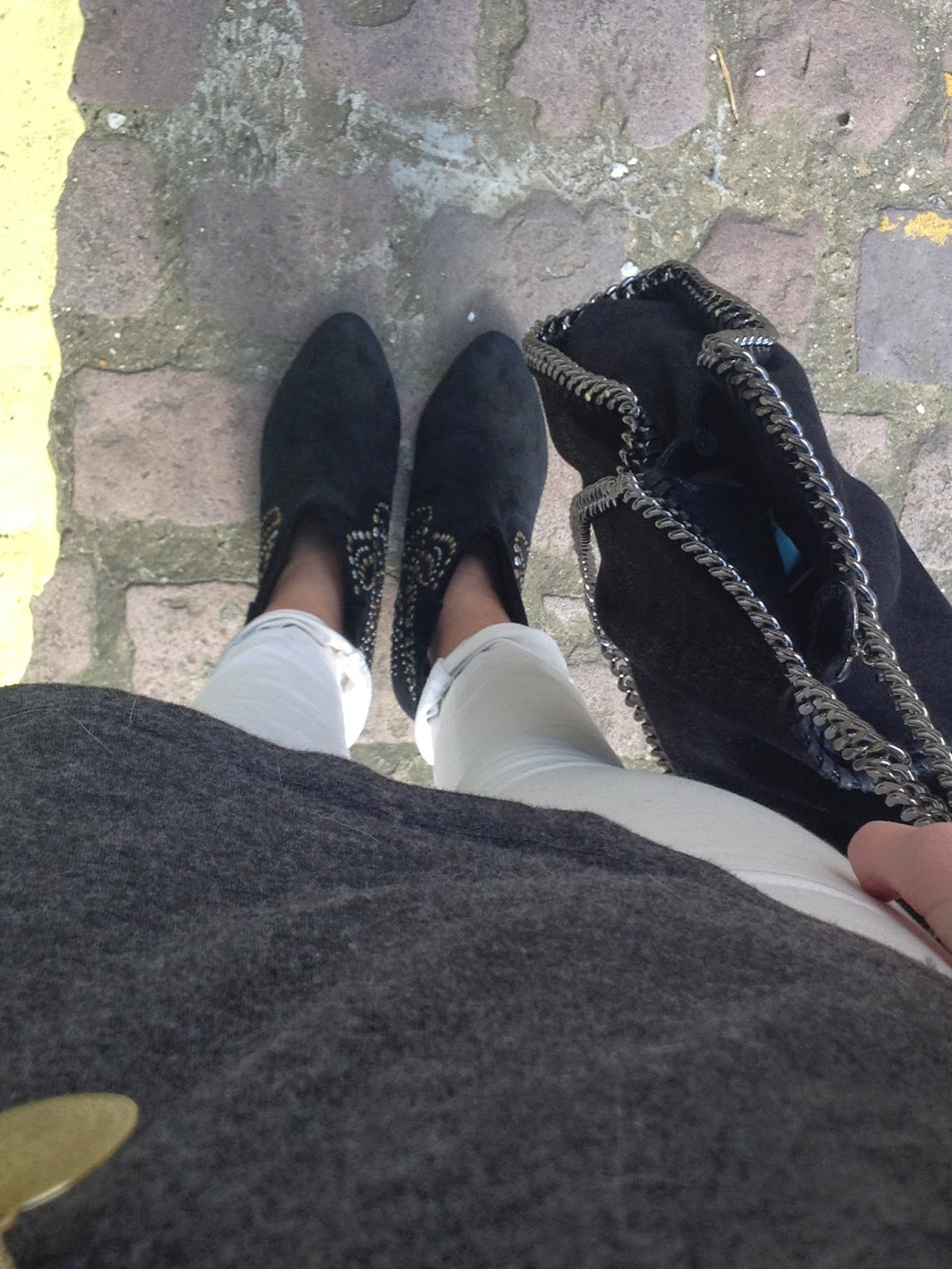 FWIS, from where I stand, ash boots, booties, black booties, falabella, grey tshirt