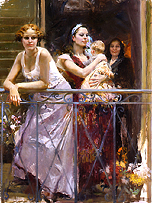 waiting on the balcony painting by Daeni Pino artist