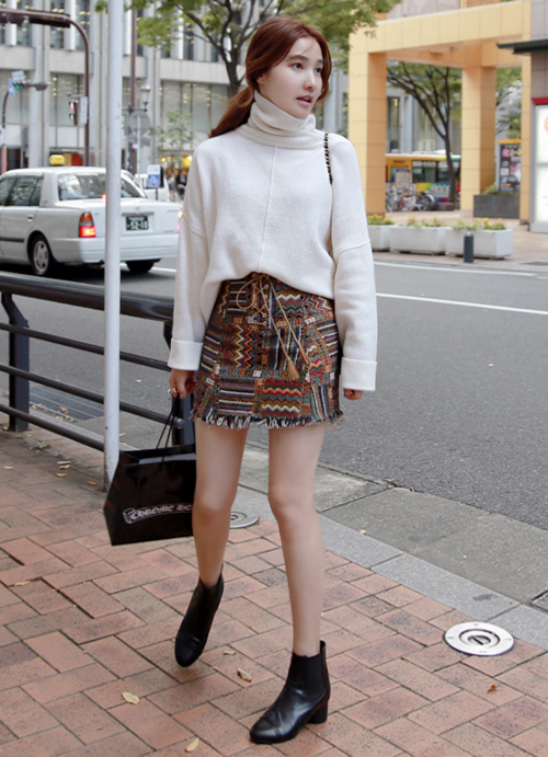 Multiple Pattern Fringed Skirt