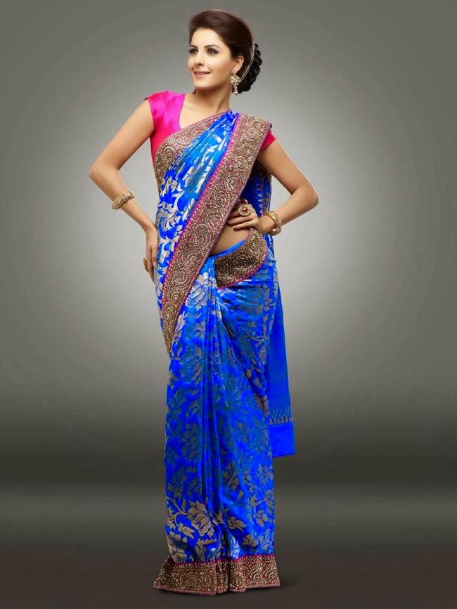 Isha Talwar In Blue and Pink Silk Saree