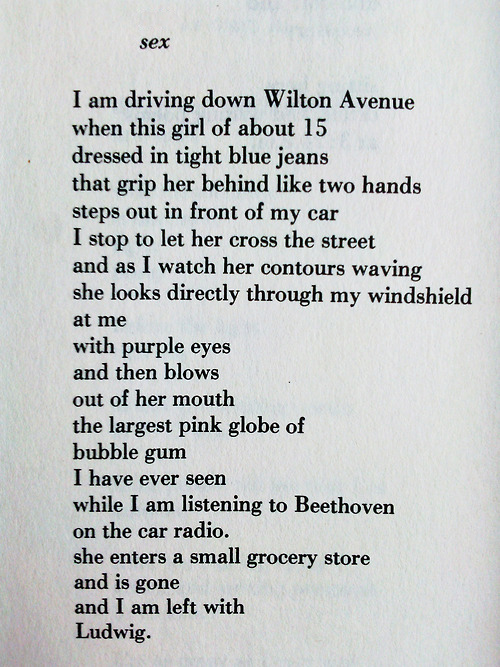 Charles Bukowski poem entitled 'SEX' in which Beethoven seems to console the poet's lust