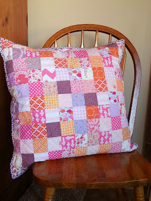 Orange, Purple, and Pink  Patchwork Pillow