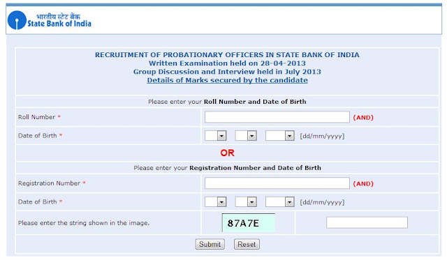 Check Your SBI PO 2013 Exam Marks