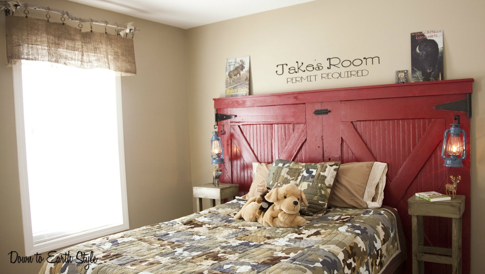 Down To Earth Style Barn Door Headboard