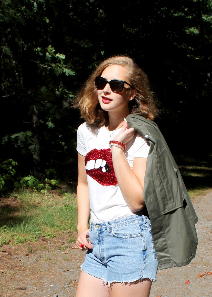 Red lip printed shirt, red espadrilles, Ralph Lauren high waisted denim shorts