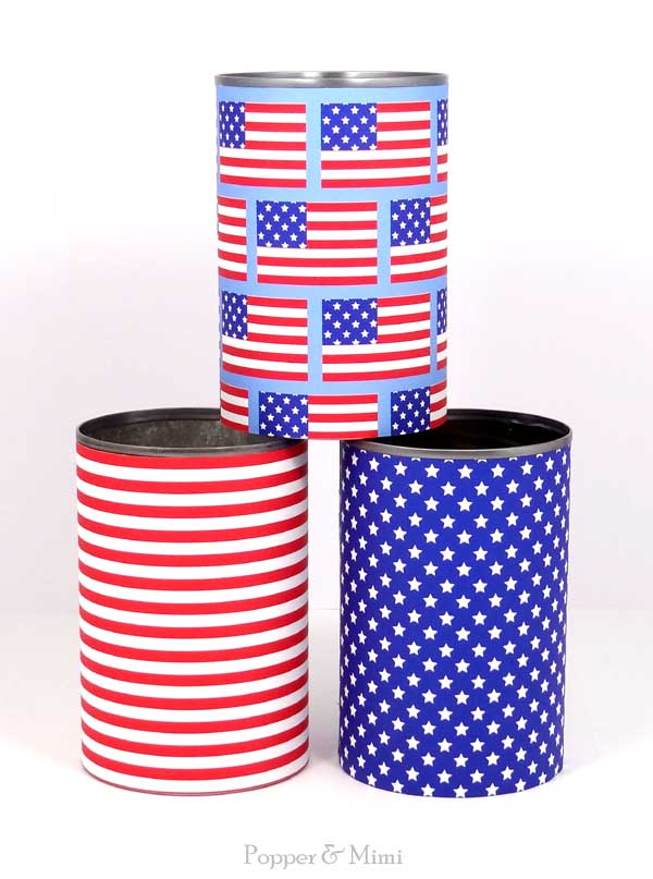 Upcycled cans wrapped with stars and stripes paper | popperandmimi.com