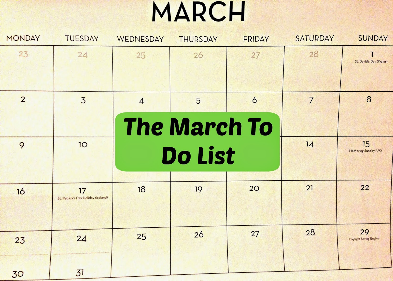 March To Do List 2015