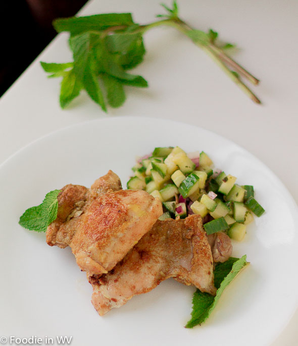 Click for Recipe for Grilled Chicken Thighs with Cucumber Mint Salad