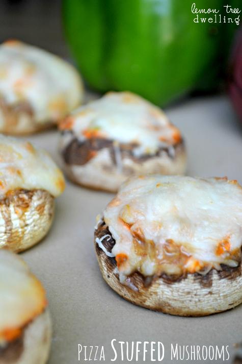 Pizza Stuffed Mushrooms #gameday #appetizer