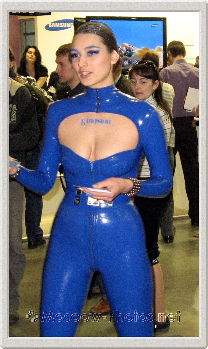 Girl in blue rubber suit. Photoforum - 2008, Moscow.