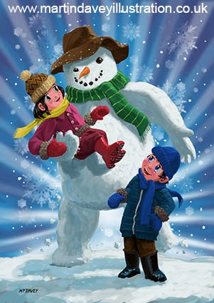 Children and Snowman playing together digital painting