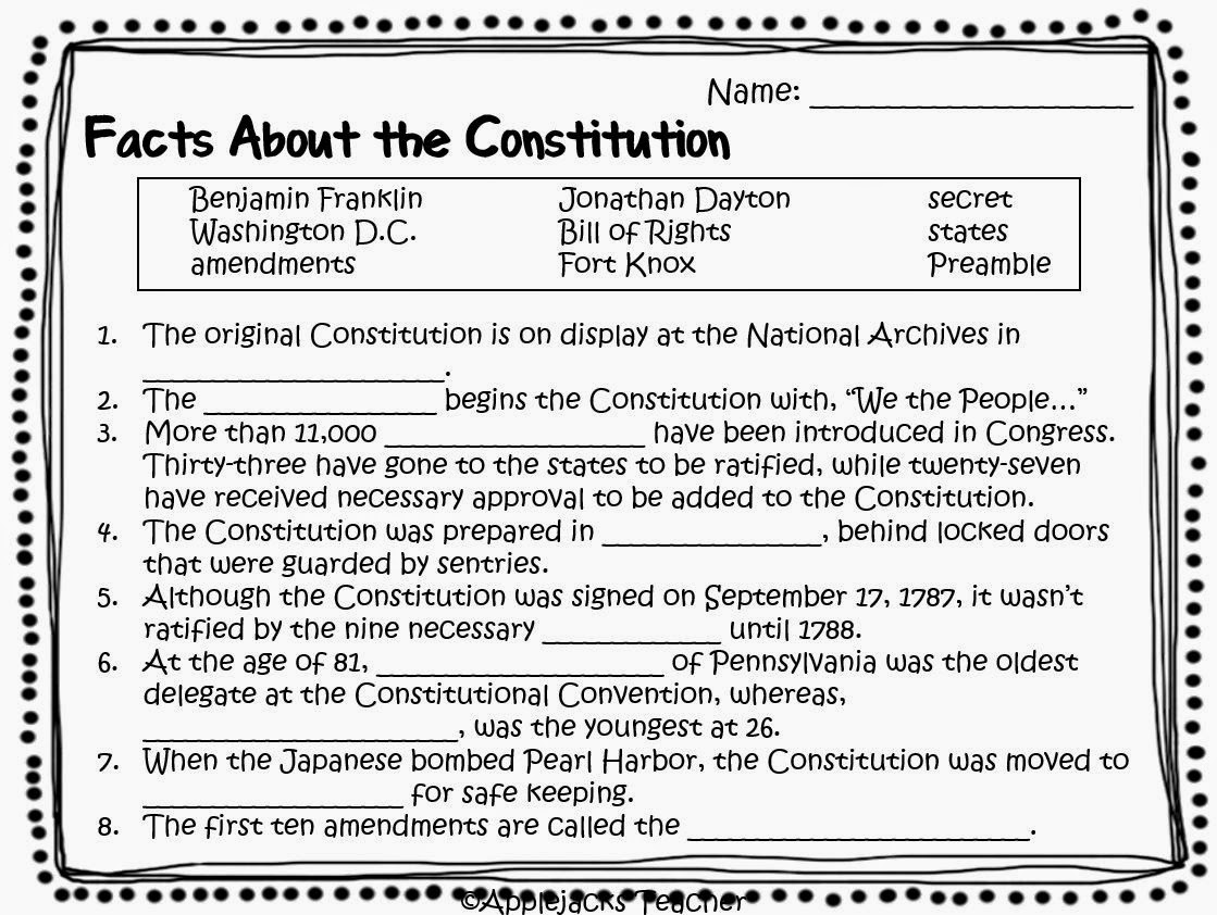 Constitution Day Printable Worksheets