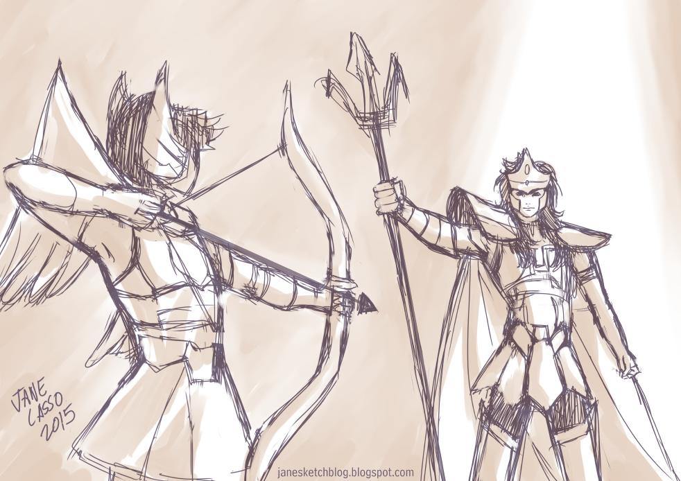 Dibujo de escena de caballeros del zodíaco