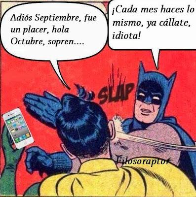 Despidiendo Septiembre meme de batman