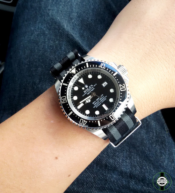 Nato James Bond 22mm can be used with Rolex Deepsea which has 21mm lug width