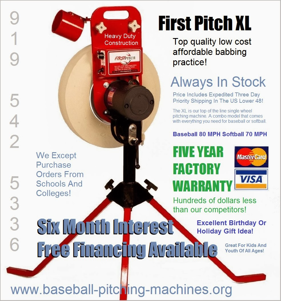 Call Jim 919-542-5336 for a great deal and fast shipping to any US location on a new pitching machine today.