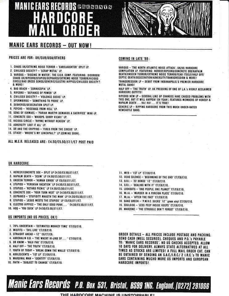 Mail Order Sheet