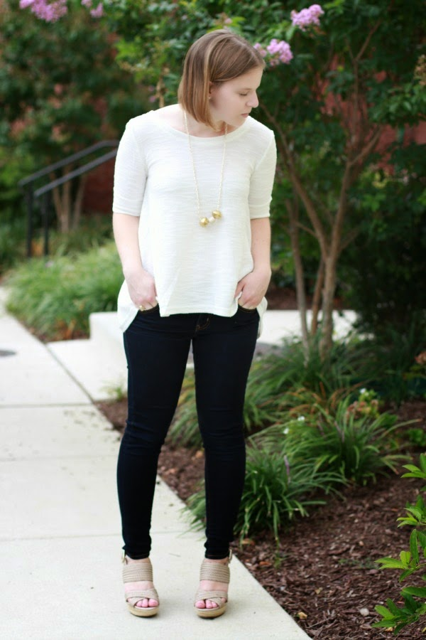 MIA | Something Good, american eagle outfitters jeans, sole society wedges, jeggings, sunday in brooklyn top, piperlime