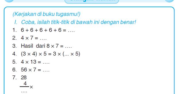 Kumpulan Soal Matematika Soal Ulangan Harian Matematika Kelas 3 Sd Quot Operasi Hitung Perkalian