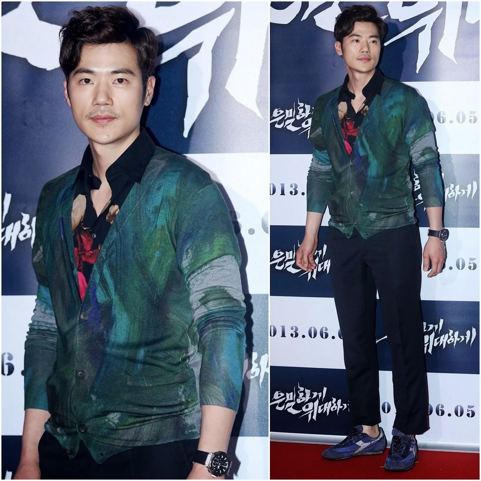 00O00 Menswear Blog: Kim Kang-Woo in Christopher Kane - 金强宇出席韩国电影《隐秘而伟大》媒体首映式