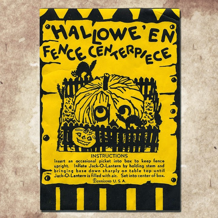 Black and yellow graphic design featuring picket fence, black cats, pumpkin Jack O'Lanterns on old sign.