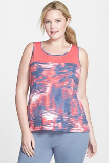 MARIKA CURVES 'Alex' Print Illusion Yoke Tank (Plus Size)