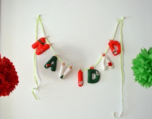 letras fieltro navidad para árbol o decorar