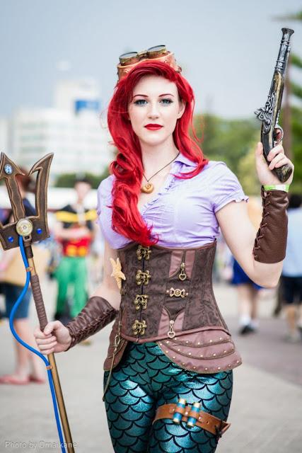 steampunk ariel little mermaid disney cosplay costume tail gun trident goggles red hair