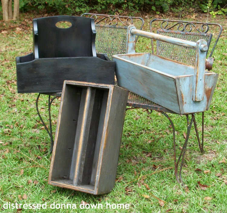 distressed painting tool caddies