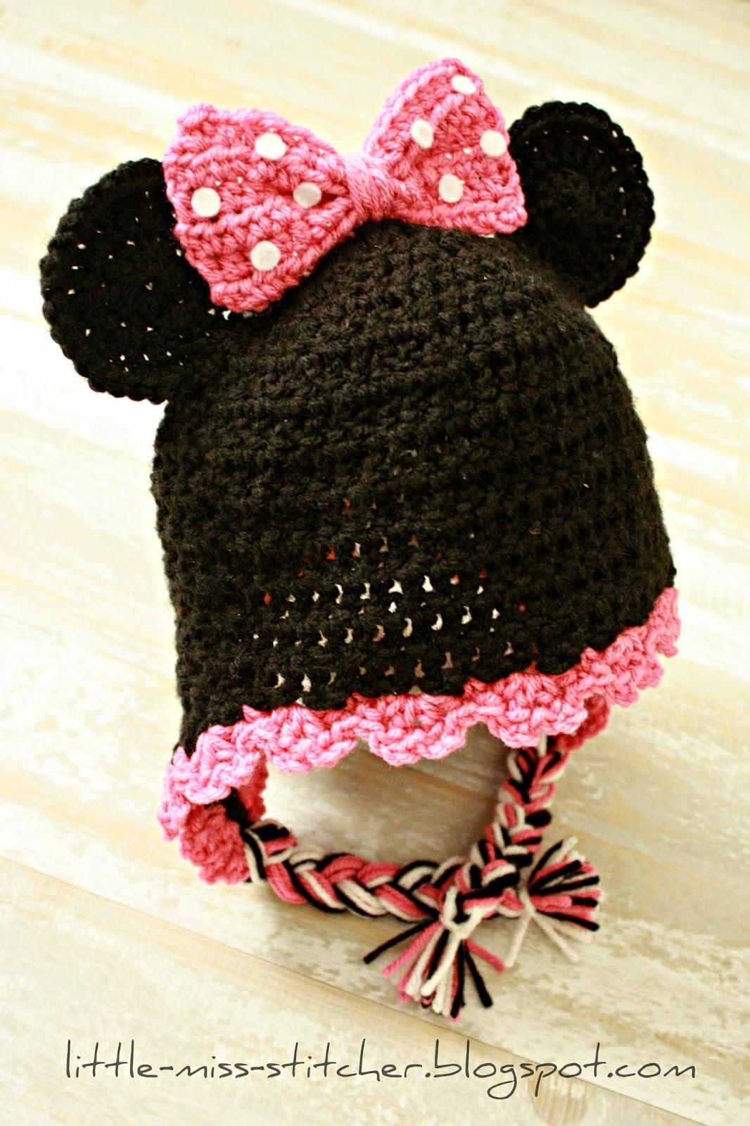 http://little-miss-stitcher.blogspot.com/2013/11/toddler-crochet-minnie-mouse-earflap-hat.html