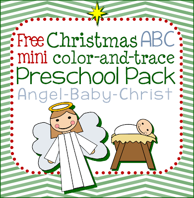 Free homeschool verse baby jesus christ color trace match simple tot